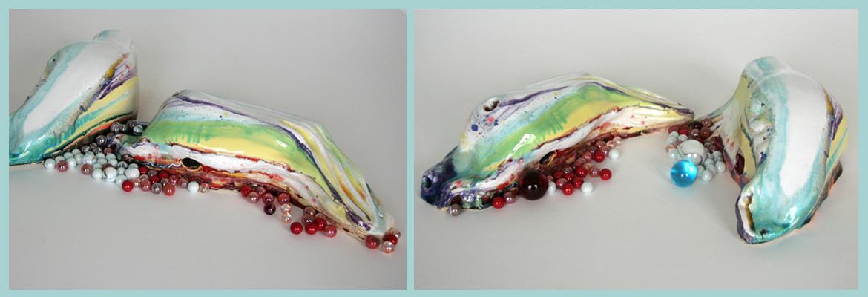 Annett Oehme Keramik glasiert, mit Glasperlen