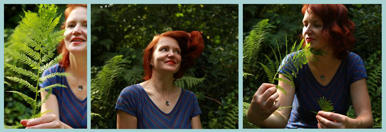 Annett Oehme 3 Porträts mit Farn