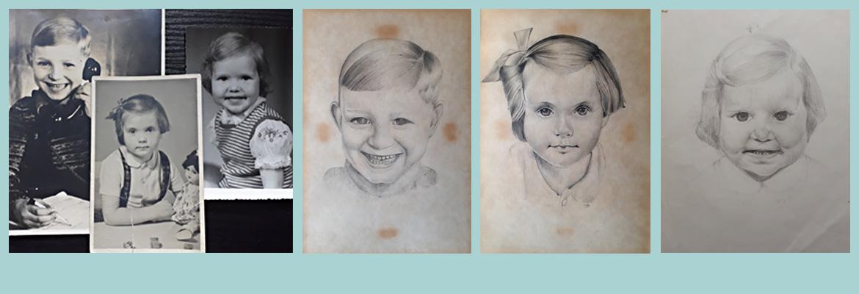 Zeichnung Kinderporträts Annett Oehme